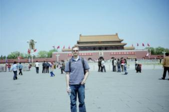 Me in Tiananmen-Square, the Forbidden City is in the background